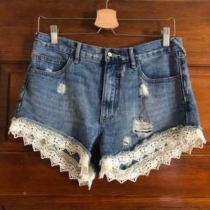 Free People | Denim Cutoff Distressed Lace Shorts